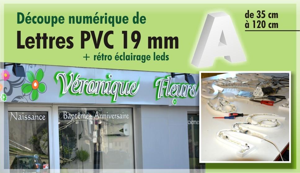lettre PVC 19 mm avec rétro éclairage leds