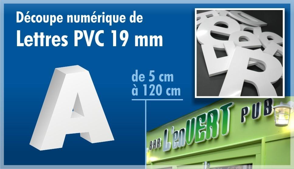découpe de lettres en PVC 19 mm