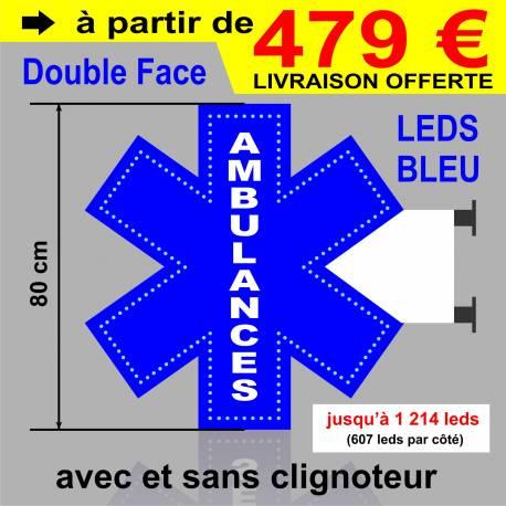 Croix Ambulance - Enseigne lumineuse à leds