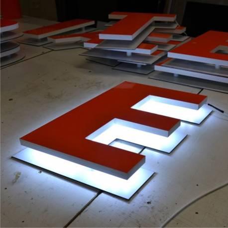 RETRO + ALU - Lettres PVC Relief Lumineuses à LEDS
