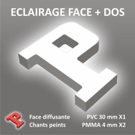 LETTRE BOITIER PVC 30 mm + RETRO ECLAIRAGE LEDS