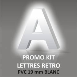Lettres PVC 19 mm Blanc ou Noir Rétro éclairage blanc