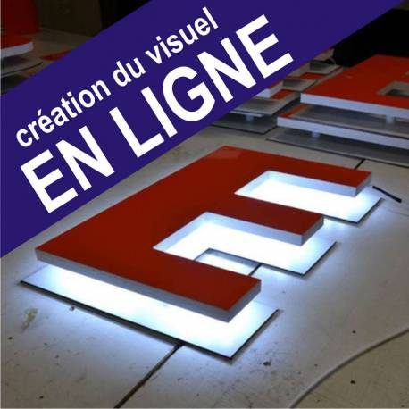 lettre E lumineuse avec rétro éclairage LED