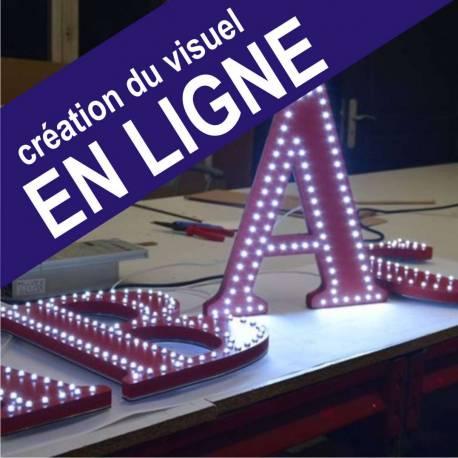 Lettre LEDS point à point double trait