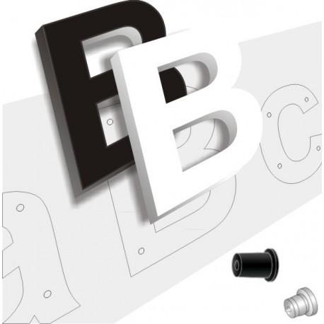 Pack lettres PVC avec entretoises de fixation, plan de pose