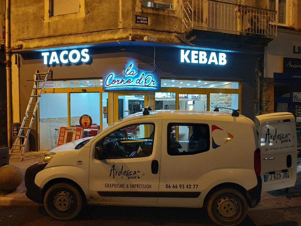 lettre boitier enseigne lumineuse kebab tacos