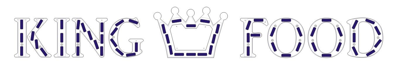 imposition des blocs leds au dos des lettres en PVC 30 mm