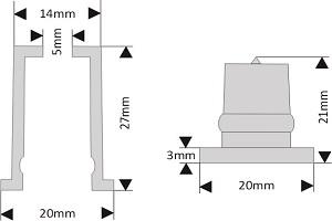 fixation pour lettre découpée diamètre 20 mm écartement 30 mm à coller/visser