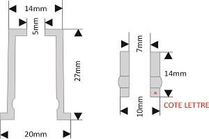 fixation pour lettre découpée diamètre 20 mm écartement 27 mm à visser/visser