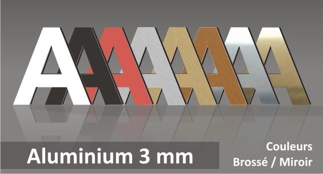 lettres relief découpées en aluminium