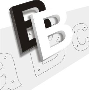 lettres PVC 19 mm noir et blanc plan de pose et entretoises pour lettres relief