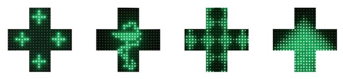 croix de pharmacie à leds vertes