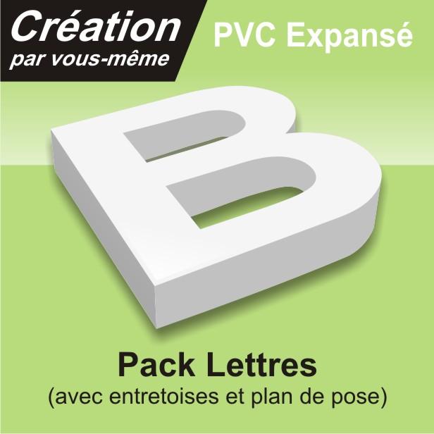 lettre relief en PVC avec entretoises et plan de pose