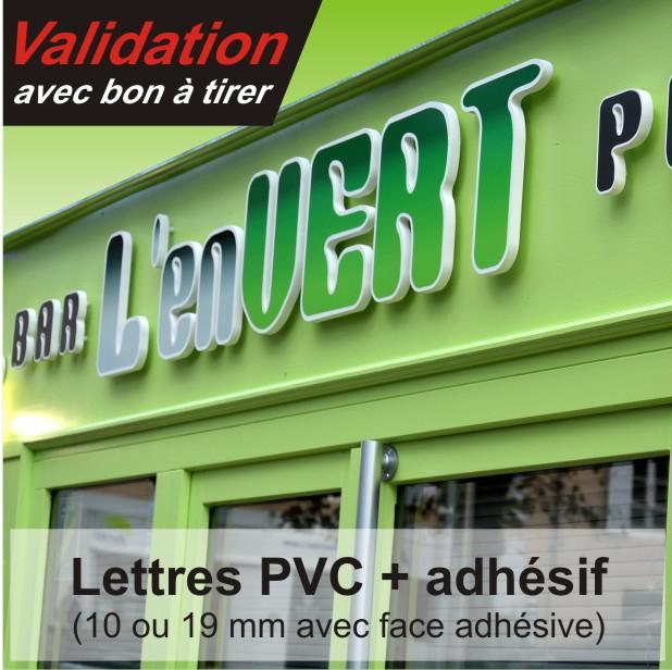 lettre relief PVC avec face adhésive