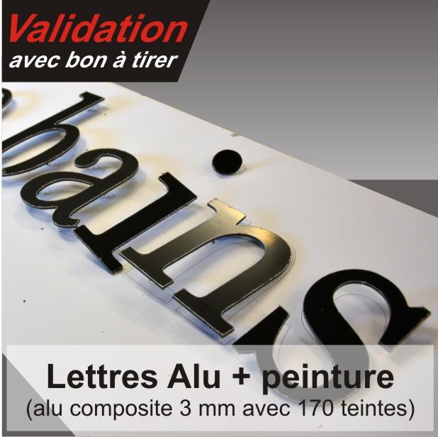 lettre aluminium peinte