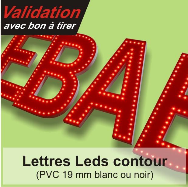 lettres et logos PVC à leds double trait